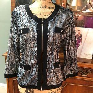 NWOT Michael Simon Gray & Black Sequined Jacket XL